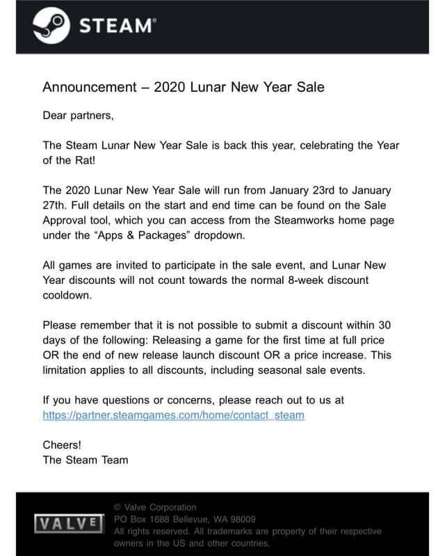 Steam Lunar Sale 2020