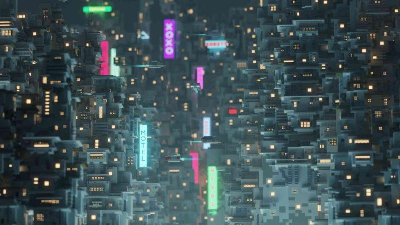 Игрок создал в Minecraft пейзаж в стиле Cyberpunk