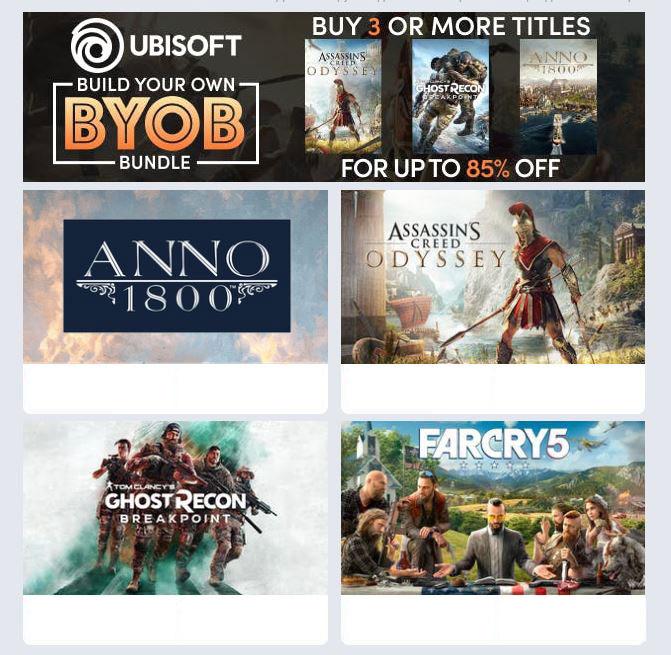Собираем свой набор из 5 игр Ubisoft – получаем скидку в 85%
