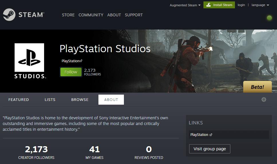 Sony в Steam